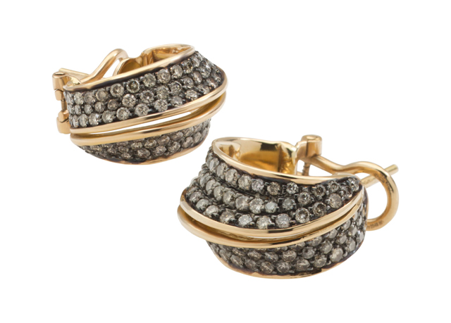 Lily Gabriella Diamond and Gold Ear Hoops