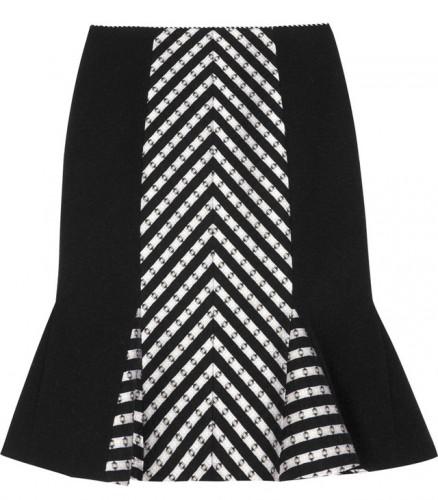 Matthew Williamson Stripe Panelled Wool Skirt
