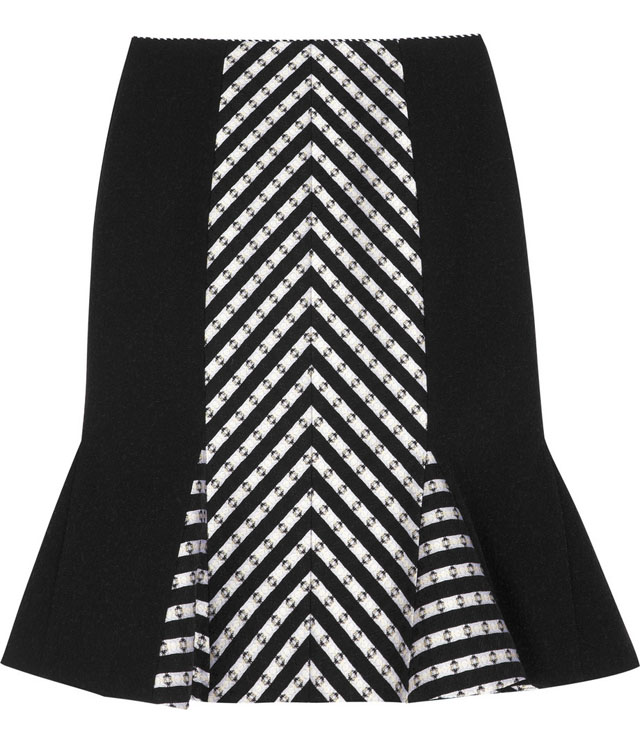 Matthew Williamson Stripe Panelled Wool Skirt