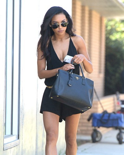 fe641b1fd9 Naya Rivera carries a black Prada Saffiano Lux Tote in LA (1 ...