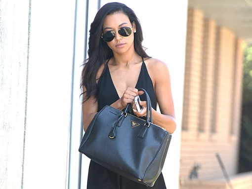 Naya Rivera carries a black Prada Saffiano Lux Tote in LA (5)