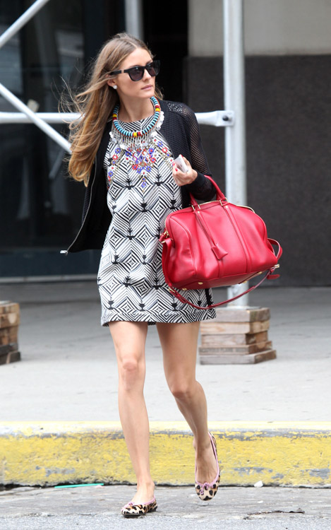Olivia Palermo carries a red Louis Vuitton SC Satchel in NYC (3)