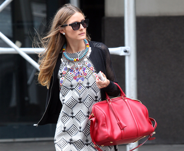 Olivia Palermo carries a red Louis Vuitton SC Satchel in NYC (5)