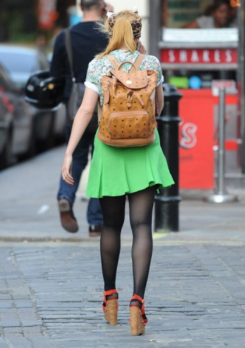 Paloma Faith carries an MCM logo backpack in London (3)