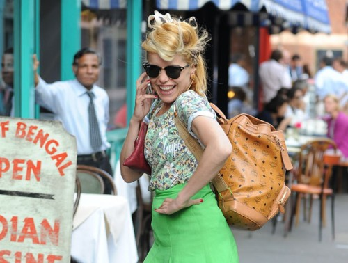 Paloma Faith carries an MCM logo backpack in London (5)