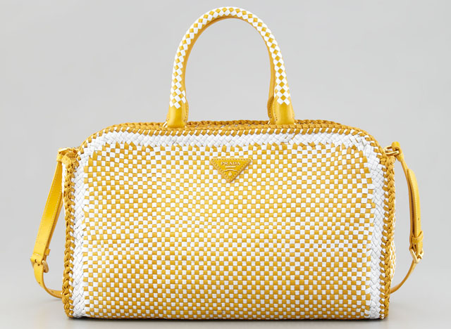 Prada Bicolor Woven Madras Made-In Tote