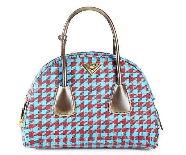 Prada Jacquard Check Small Bowler Bag