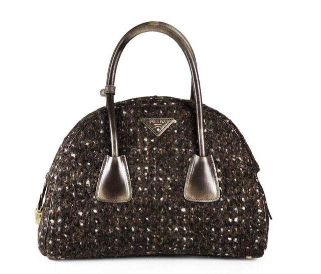 Prada Wool Boucle Bowler Bag