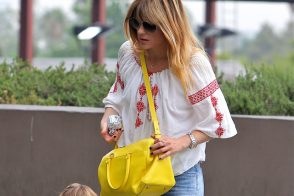Selma Blair carries a yellow Saint Laurent Classic Duffel Bag (5)
