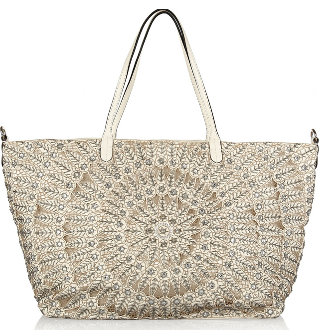 Valentino Crystal-Embellished Leather Tote