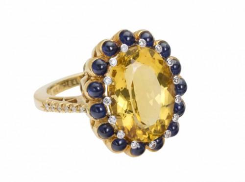 Yellow Beryl Sapphire and Diamond Ring
