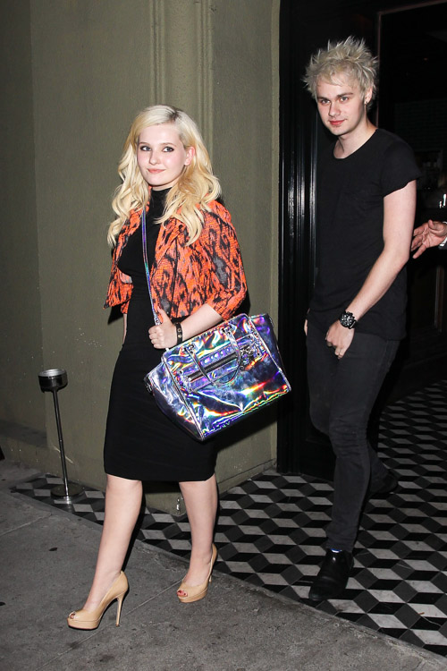 Abigail Breslin carries a Milly Holographic Demi Tote to dinner in LA (2)