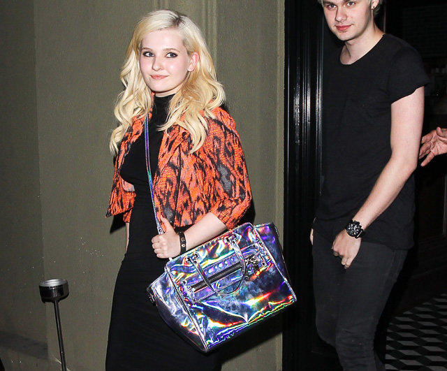 Abigail Breslin carries a Milly Holographic Demi Tote to dinner in LA (5)