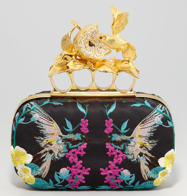 Alexander McQueen Apple and Hummingbird Embroidered Clutch