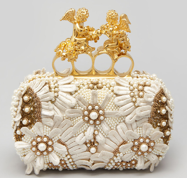 Alexander McQueen Embroidered Cherub Knuckle Duster Clutch