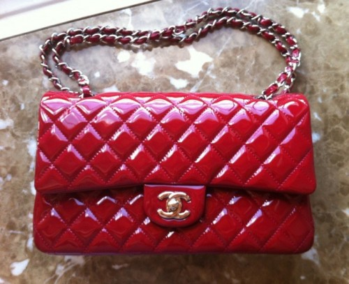 Chanel Flap Bag Red Patent Leather
