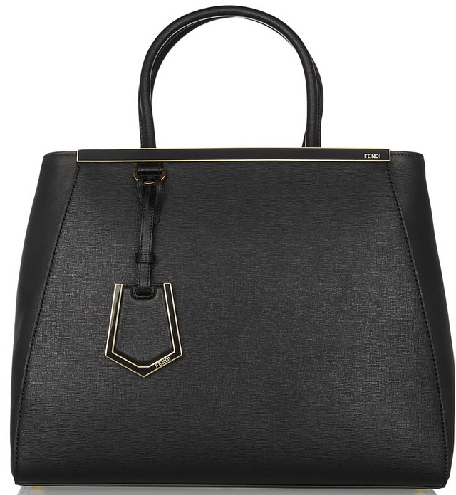 Fendi 2 Jours Medium Textured-Leather Shopper