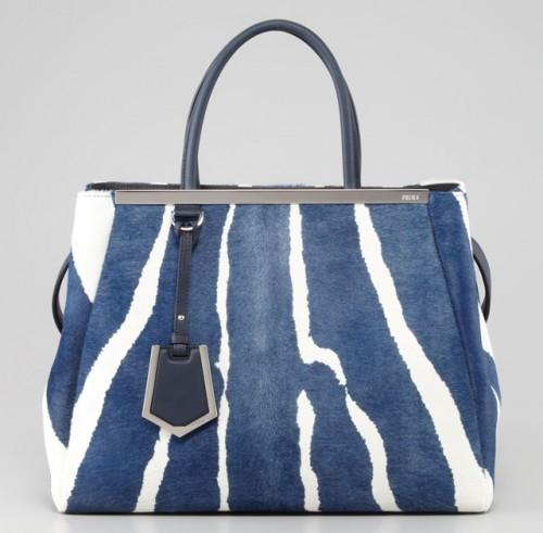 Fendi 2Jours Tote Blue Zebra