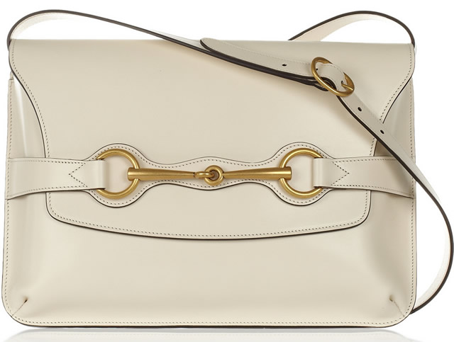 Gucci Bright Bit Leather Shoulder Bag in cream