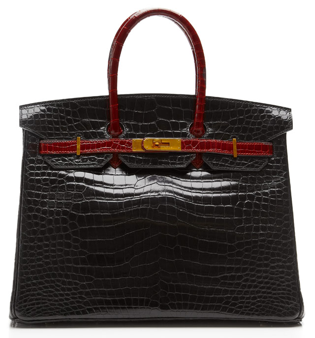 Hermes Birkin 35cm Two Tone Crocodile with Gold Hardware