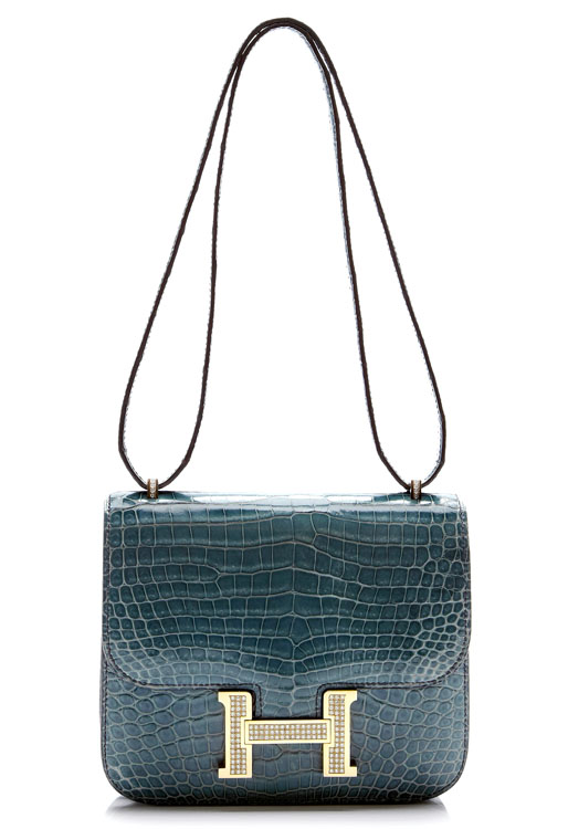 Hermes Constance 18cm Crocodile Bag with White Gold and Diamond Hardware