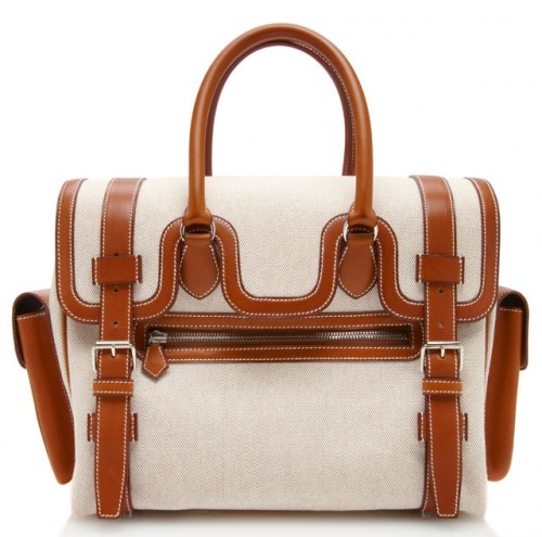 Hermes Gold Toile Drag Lakis Bag