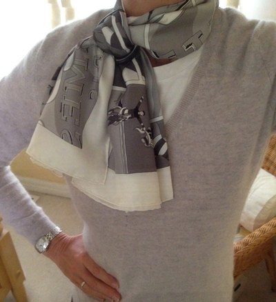 Hermes Grey Silk Scarf