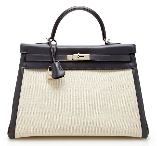 Hermes Kelly 35cm Leather and Toile Bag