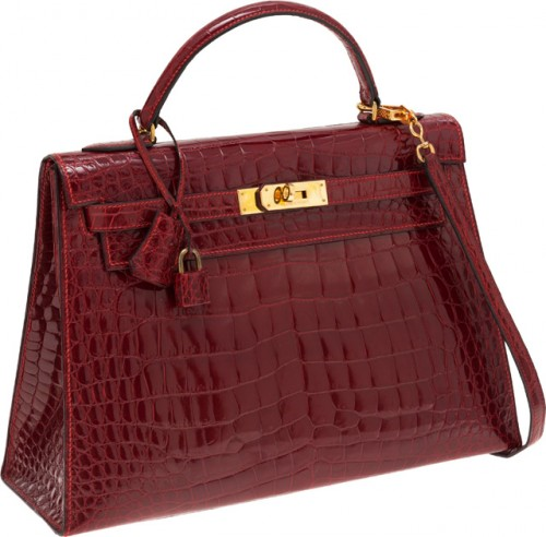 Hermes Kelly Sellier 32cm Rouge H Crocodile Bag