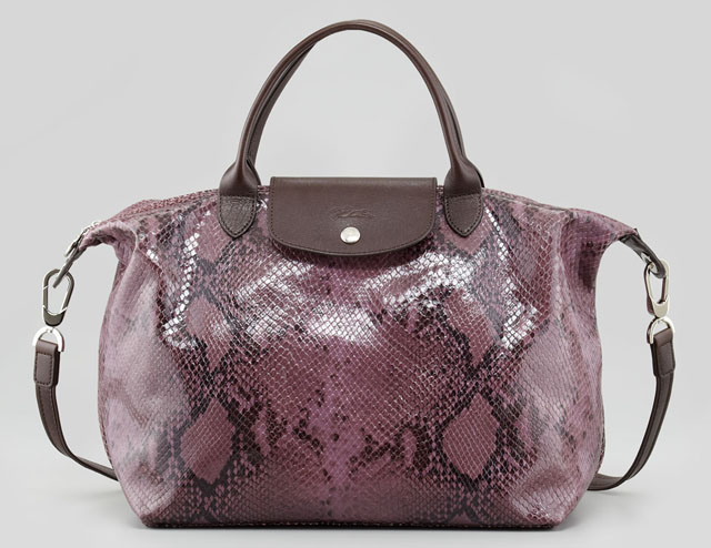 Longchamp Le Pliage Python Embossed Satchel