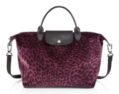 Longchamp Le Pliage Velvet Printed Top Handle Bag