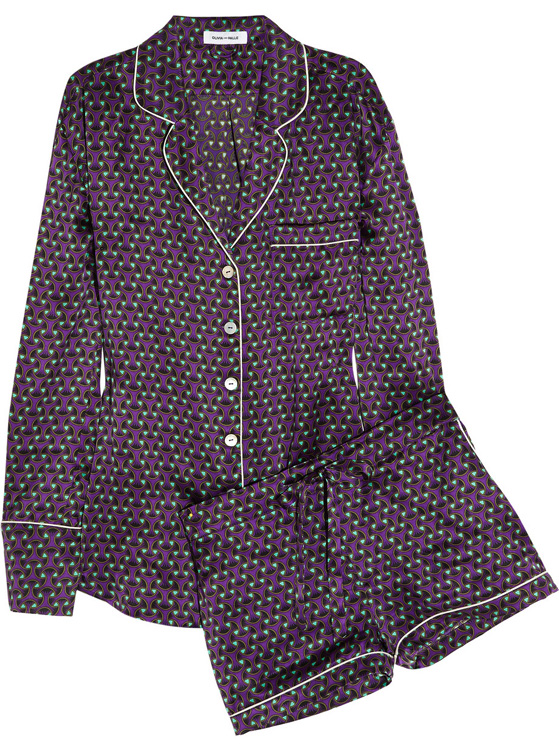 Olivia Von Halle Alba Tatjana Silk-Satin Pajamas