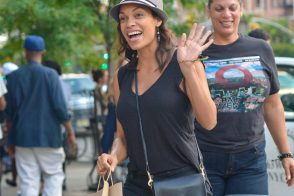 Rosario Dawson carries a Coach Legacy Penny Shoulder Bag in black (5)