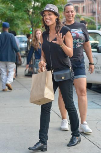 Rosario Dawson carries a Coach Legacy Penny Shoulder Bag in black (3)