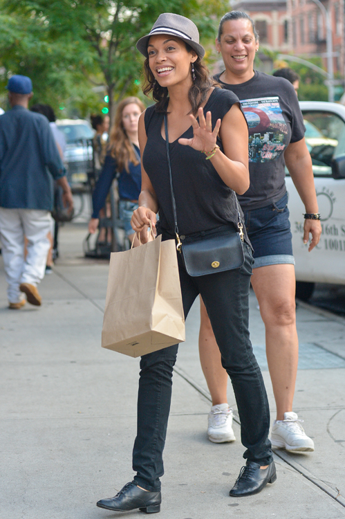Rosario Dawson carries a Coach Legacy Penny Shoulder Bag in black (3)