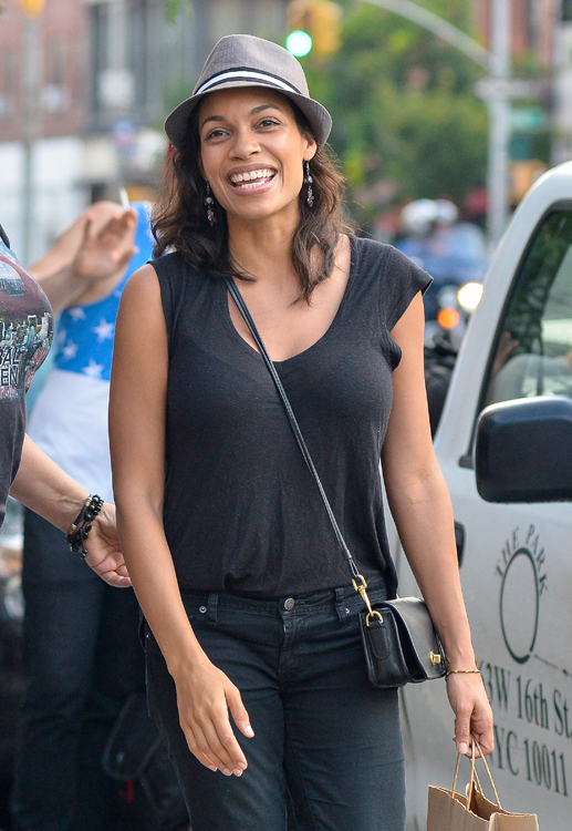Rosario Dawson carries a Coach Legacy Penny Shoulder Bag in black (4)