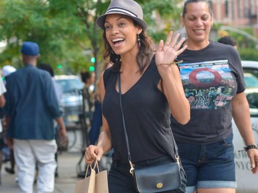 Rosario Dawson carries a Coach Legacy Penny Shoulder Bag in black (5)