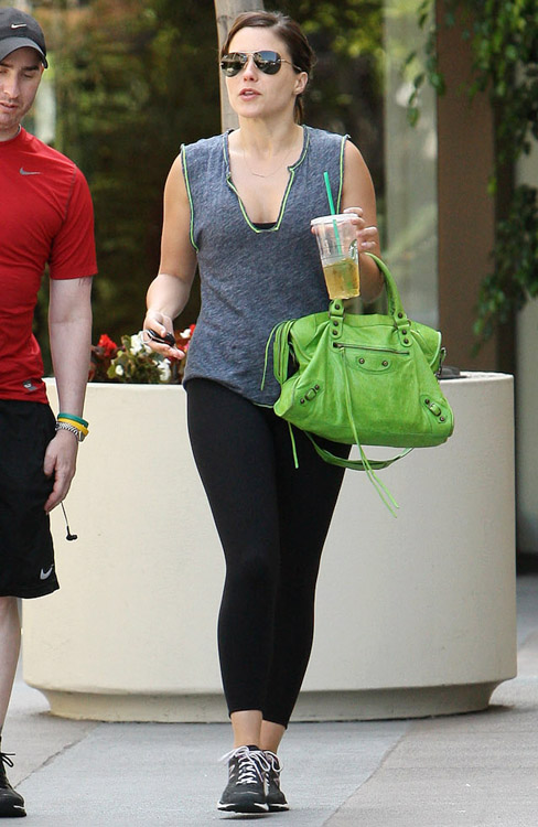 Sophia Bush carries a green Balenciaga City Bag in LA (2)