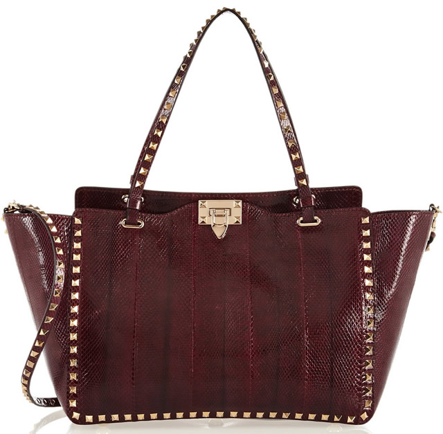 Valentino The Rockstud Watersnake Trapeze Bag