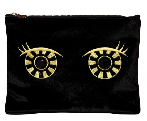 Charlotte Olympia Owl Eye Embroidered Velvet Pouch
