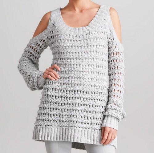 Donna Karan Cold-Shoulder Sweater