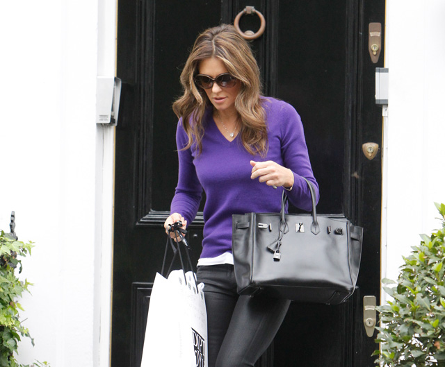 bag knockoffs - Elizabeth Hurley Steps Out with a Rare Hermes Birkin - PurseBlog