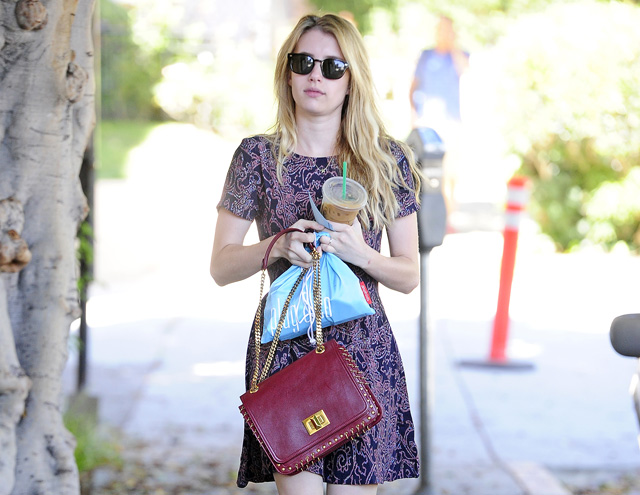 Emma Roberts carries a burgundy Pucci bag (5)