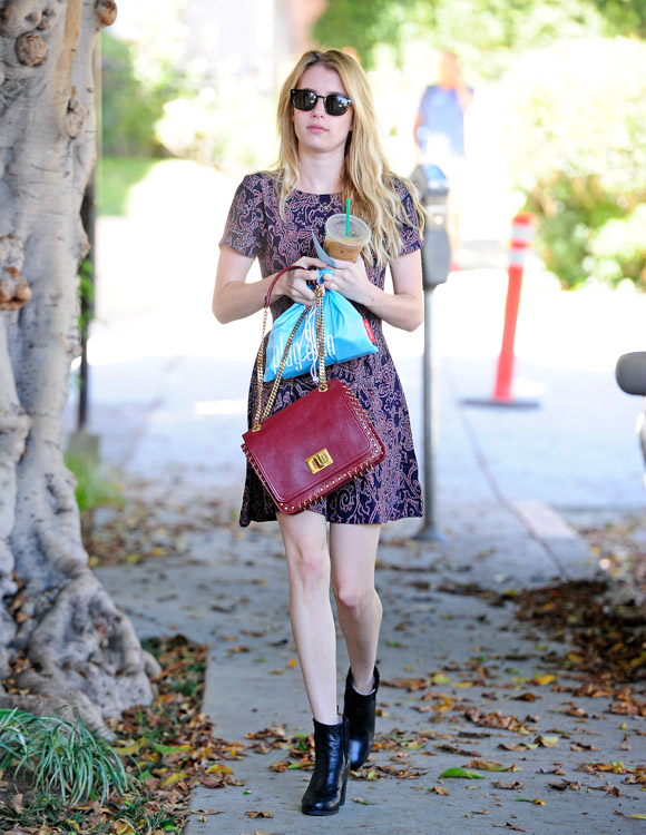 Emma Roberts carries a burgundy Pucci bag (3)