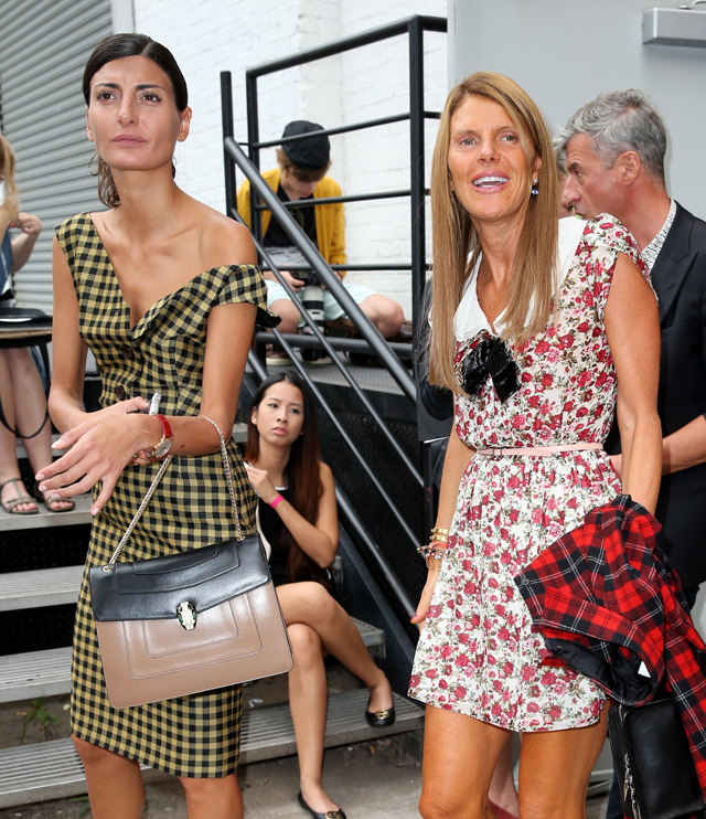 Vogue Japan editor Anna Dello Russo leaves the Rodarte fashion show in New York City
