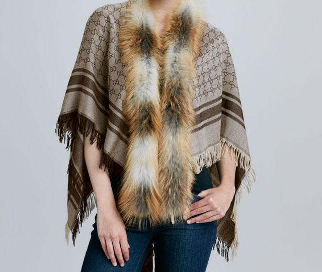 Gucci Fur-Trimmed Wool & Silk Shawl