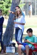 Heidi Klum carries a grey Reed Krakoff Boxer Tote (3)