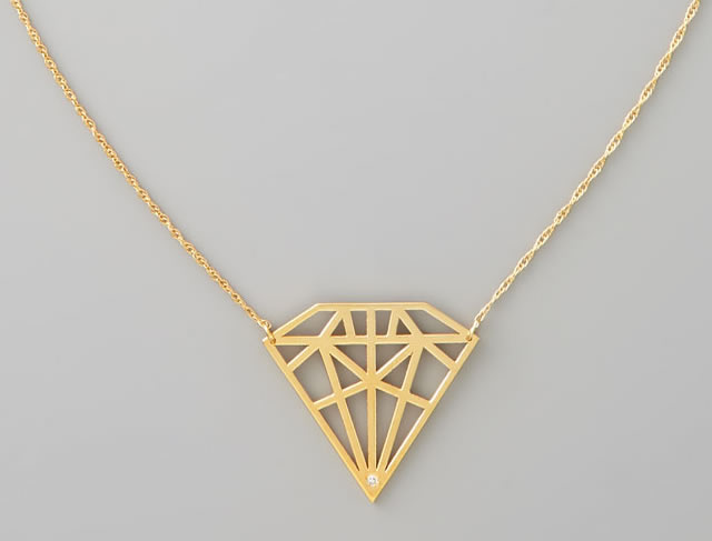 Jennifer Zeuner Diamond-Cutout Pendant Necklace