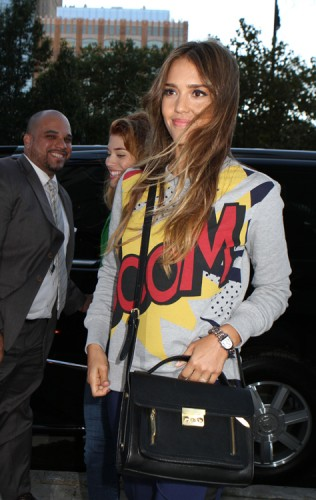 Jessica Alba carries a 3.1 Phillip Lim for Target Satchel in NYC (1)
