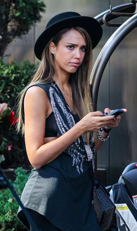 Jessica Alba carries a studded Jimmy Choo bag in NYC (1)
